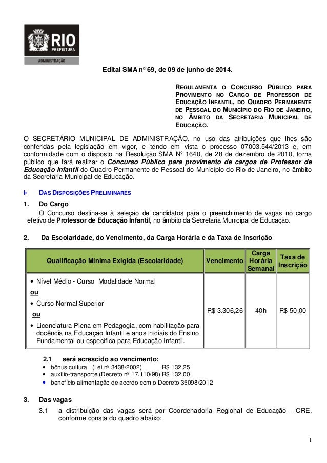 1 Edital SMA nº 69, de 09 de junho de 2014. REGULAMENTA O CONCURSO PÚBLICO PARA PROVIMENTO NO CARGO DE PROFESSOR DE EDUCAÇ...