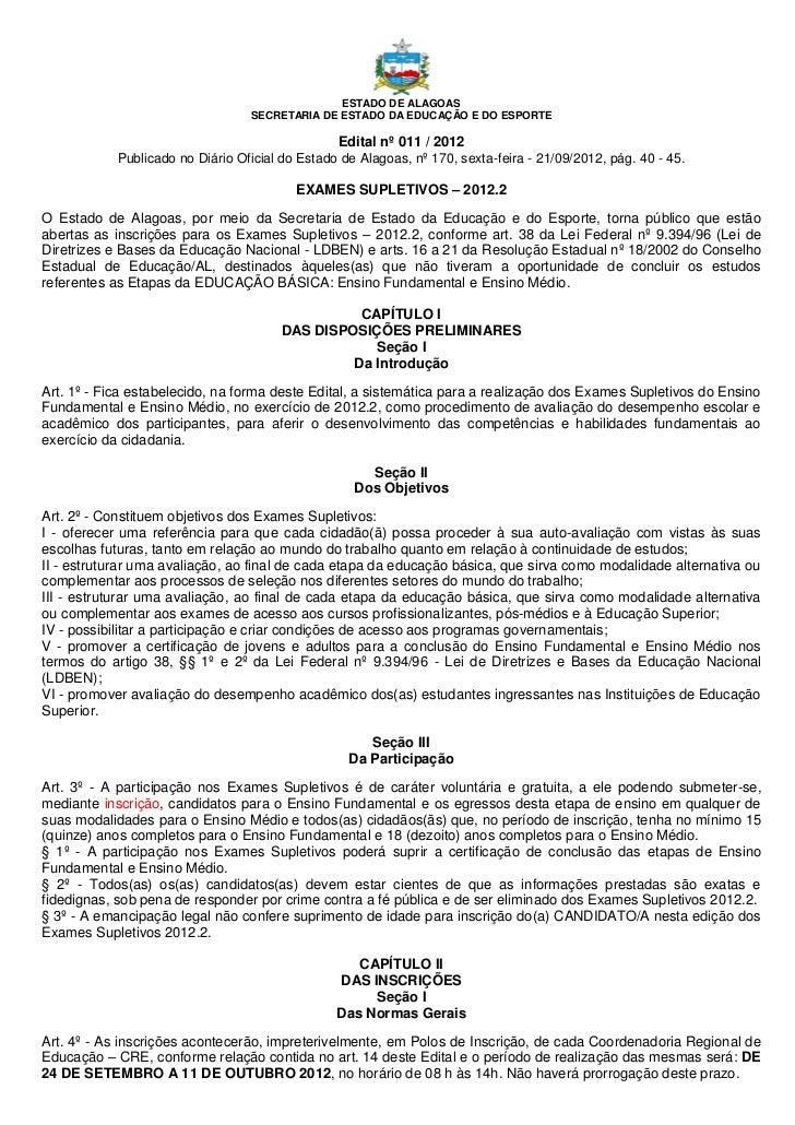 ESTADO DE ALAGOAS                                  SECRETARIA DE ESTADO DA EDUCAÇÃO E DO ESPORTE                          ...
