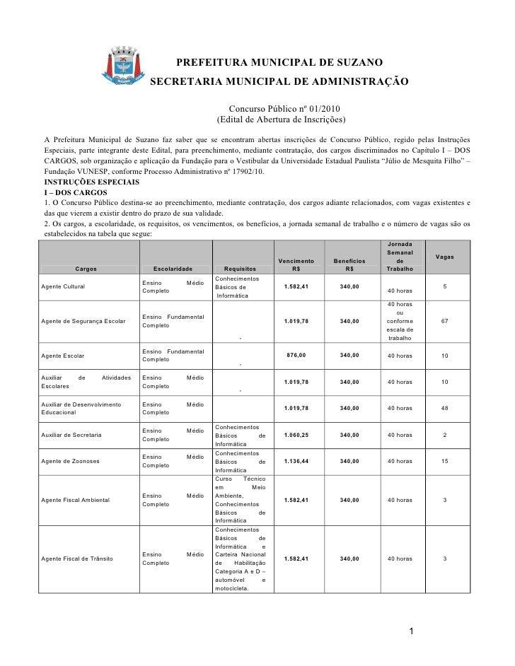PREFEITURA MUNICIPAL DE SUZANO                                         SECRETARIA MUNICIPAL DE ADMINISTRAÇÃO              ...