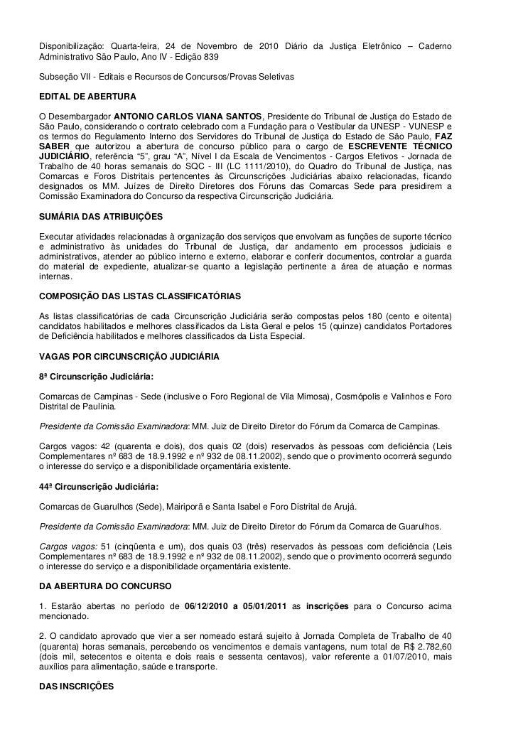 Disponibilização: Quarta-feira, 24 de Novembro de 2010 Diário da Justiça Eletrônico – CadernoAdministrativo São Paulo, Ano...