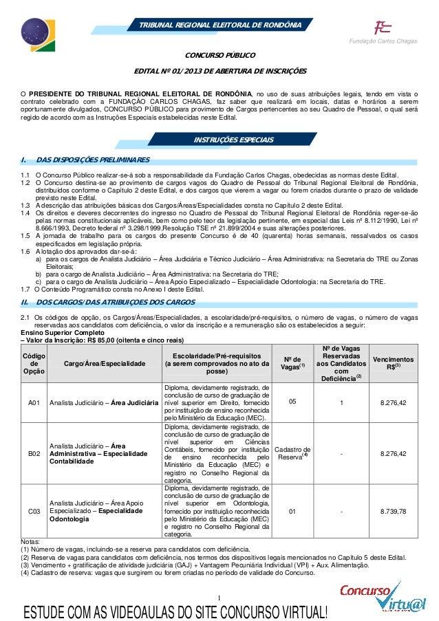 1 TRIBUNAL REGIONAL ELEITORAL DE RONDÔNIA CONCURSO PÚBLICO EDITAL Nº 01/2013 DE ABERTURA DE INSCRIÇÕES O PRESIDENTE DO TRI...