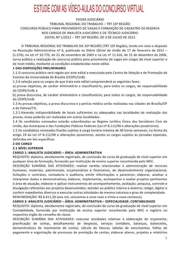 Edital concurso TRT 10a Região