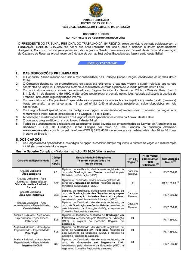 PODER JUDICIÁRIO JUSTIÇA DO TRABALHO TRIBUNAL REGIONAL DO TRABALHO DA 19ª REGIÃO CONCURSO PÚBLICO EDITAL N°01/2013 DE ABER...
