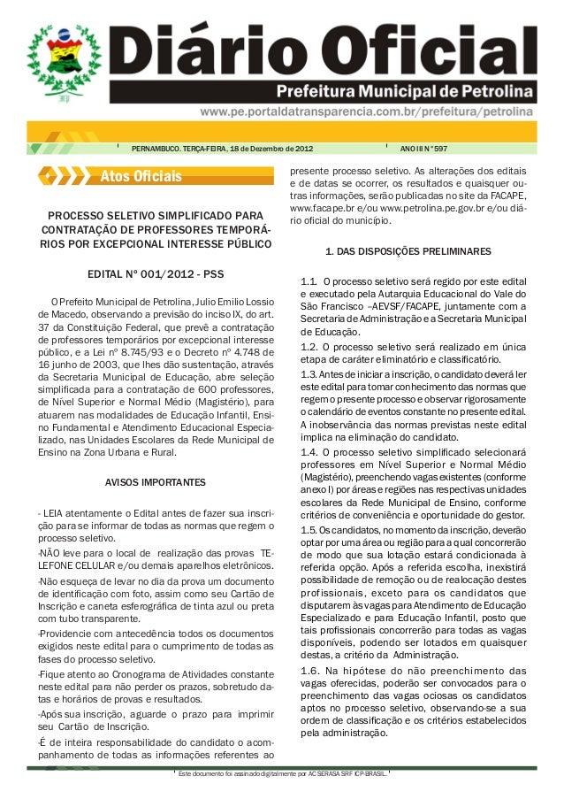 PERNAMBUCO. TERÇA-FEIRA, 18 de Dezembro de 2012                                      ANO III N°597                        ...