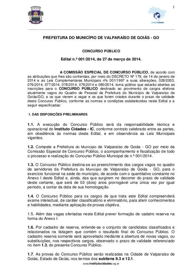 Edital Prefeitura Valparaíso-GO