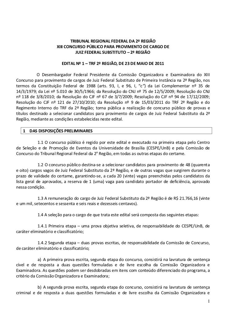 TRIBUNAL REGIONAL FEDERAL DA 2ª REGIÃO                     XIII CONCURSO PÚBLICO PARA PROVIMENTO DE CARGO DE              ...