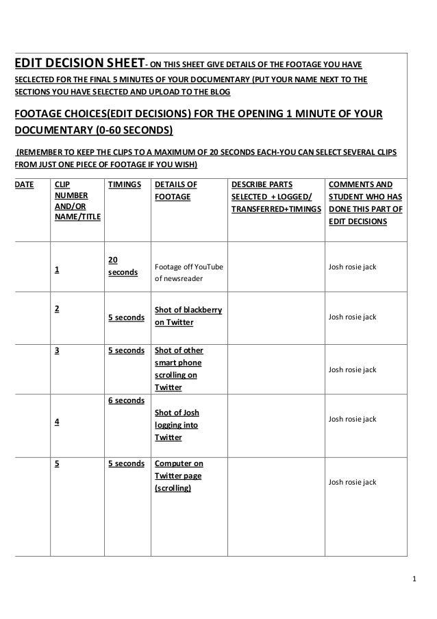 Edit decision sheet