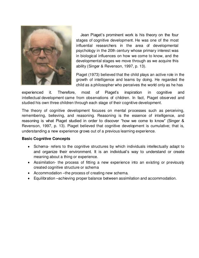 essay on jean piaget theory of cognitive development