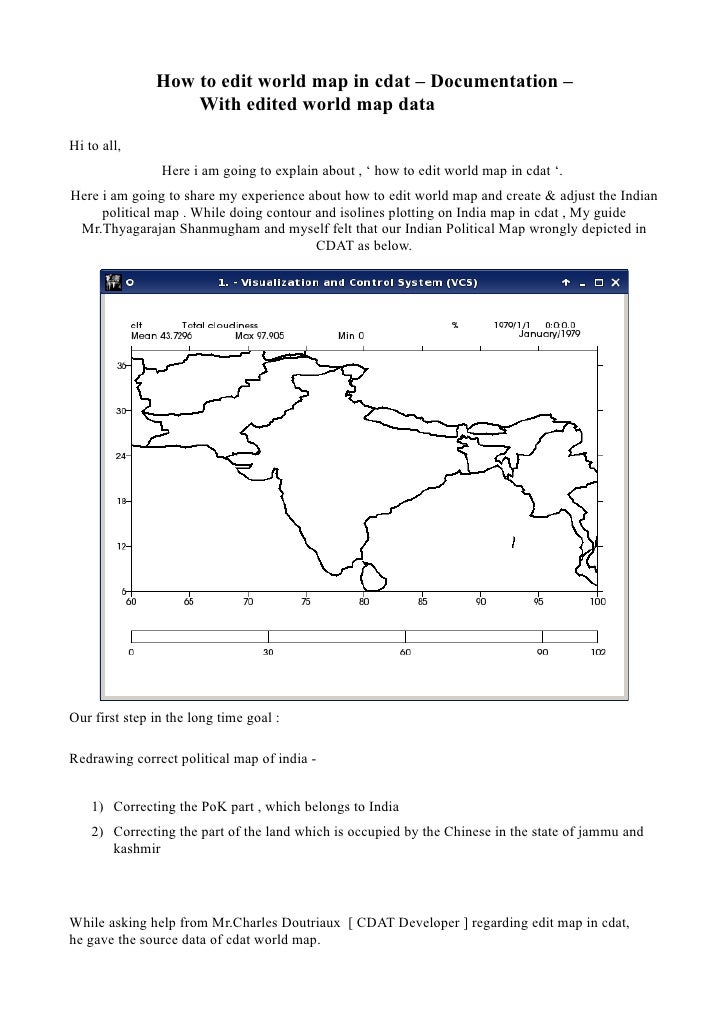 Edit/correct India Map In Cdat  Documentation -  With Edited World Map Data