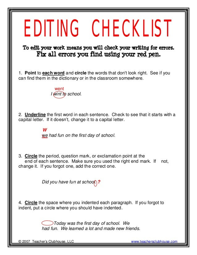 proofreading checklist for research paper