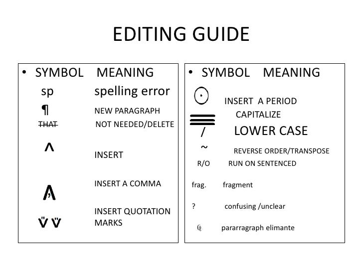 Editing symbol for new paragraph