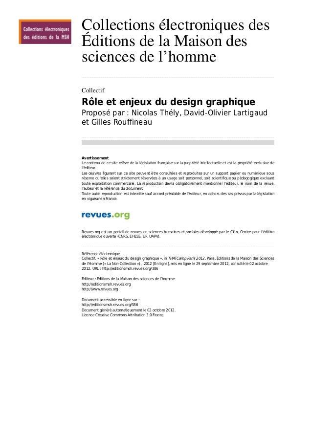 Collections électroniques des Éditions de la Maison des sciences de l'homme .................................................