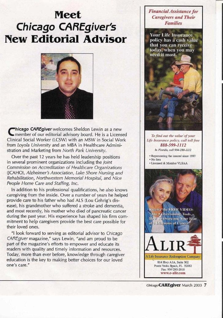 Editor  Chicago Caregiver    Magazine