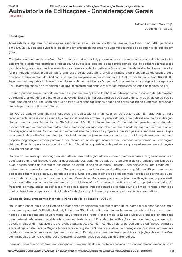 Editora roncarati   autovistoria de edificações - considerações gerais   artigos e notícias