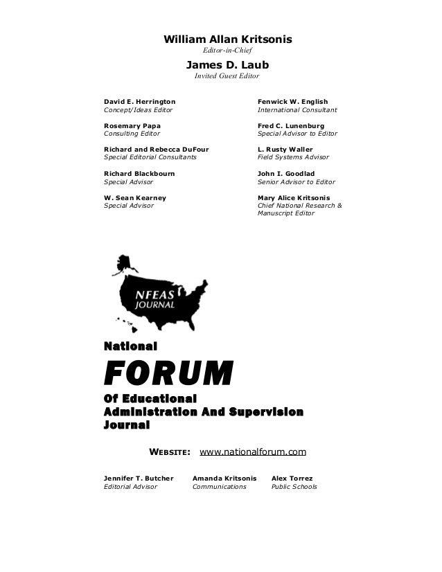 William Allan Kritsonis Editor-in-Chief  James D. Laub Invited Guest Editor David E. Herrington Concept/Ideas Editor  Fenw...