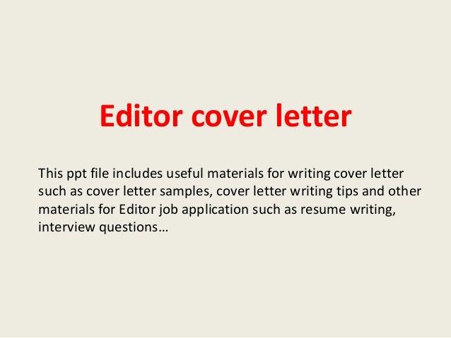 Desk editor cover letter