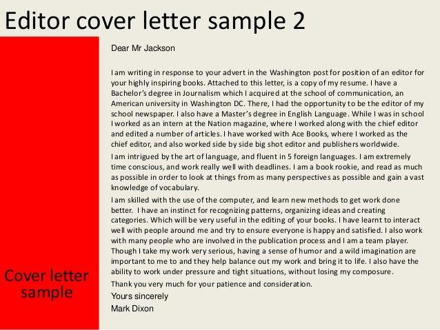 sample cover letter newspaper editor