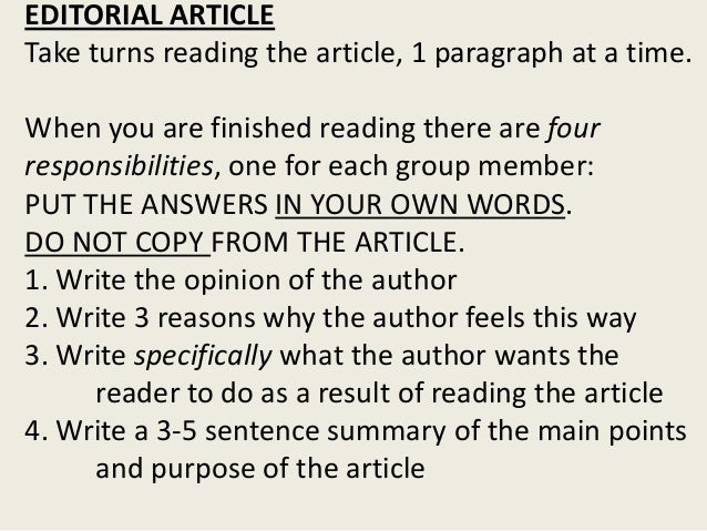 how to write summary article