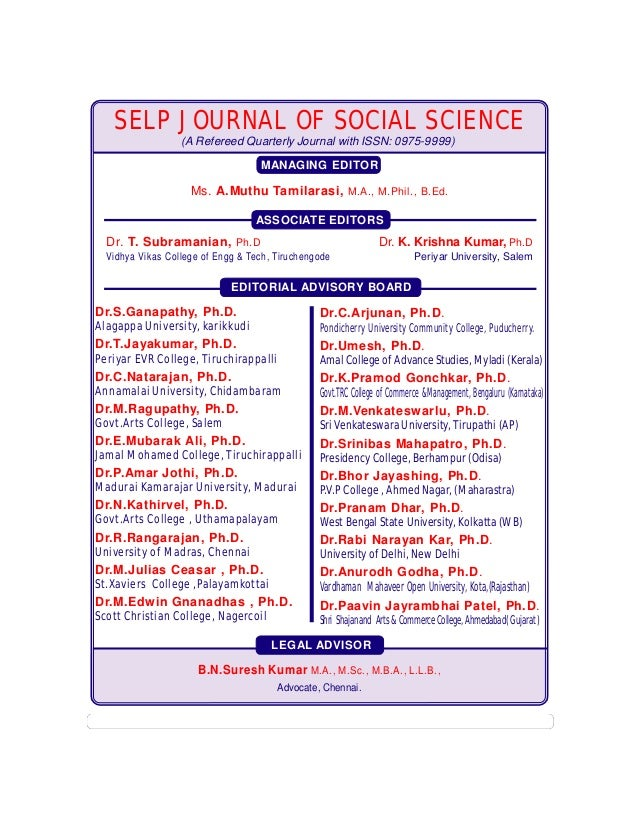 Vol . IV : Issue. 17  ISSN:0975-9999  SELP JOURNAL OF SOCIAL SCIENCE (A Refereed Quarterly Journal with ISSN: 0975-9999) M...
