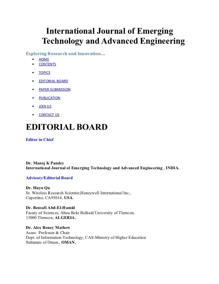 International Journal of Emerging         Technology and Advanced EngineeringExploring Research and Innovation....   •   H...