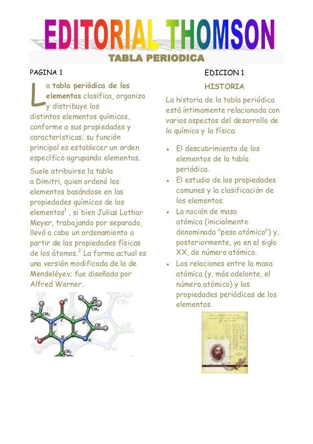 TABLA PERIODICAPAGINA 1                                        EDICION 1L     a tabla periódica de los                   H...