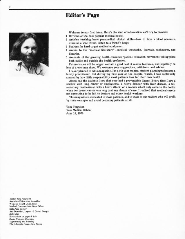 Medical Self-Care magazine: Editor notes - Issues 1 to 10 - from June 1976 to Fall 1980