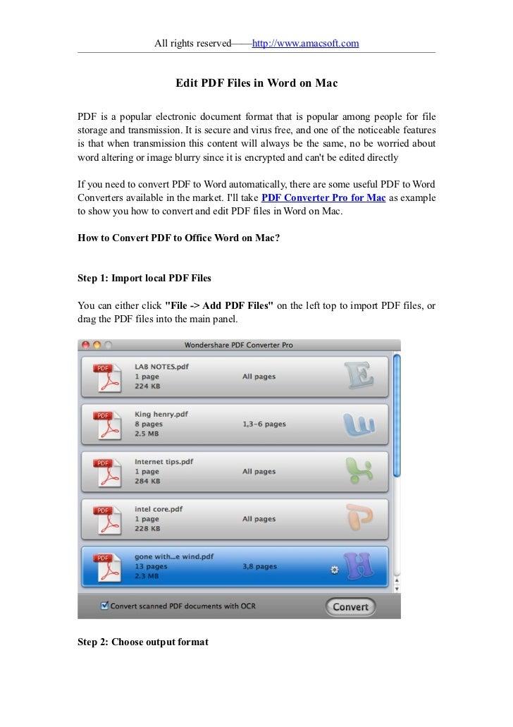 Edit pdf files in word on mac