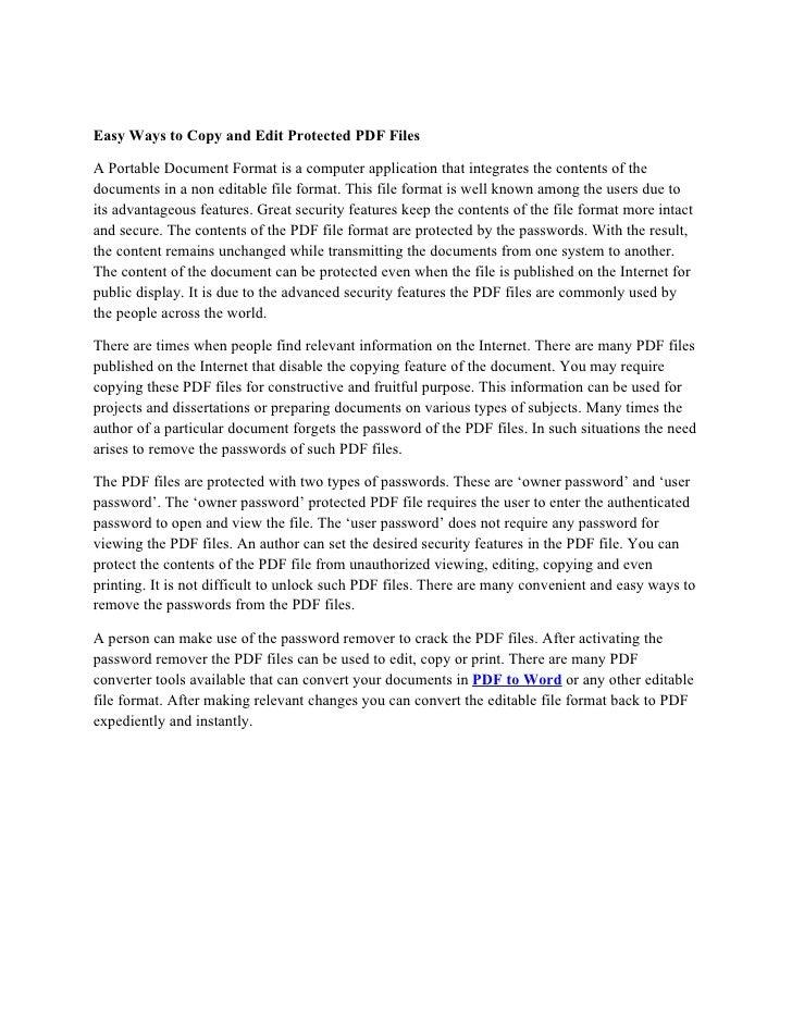 Edit Protected PDF