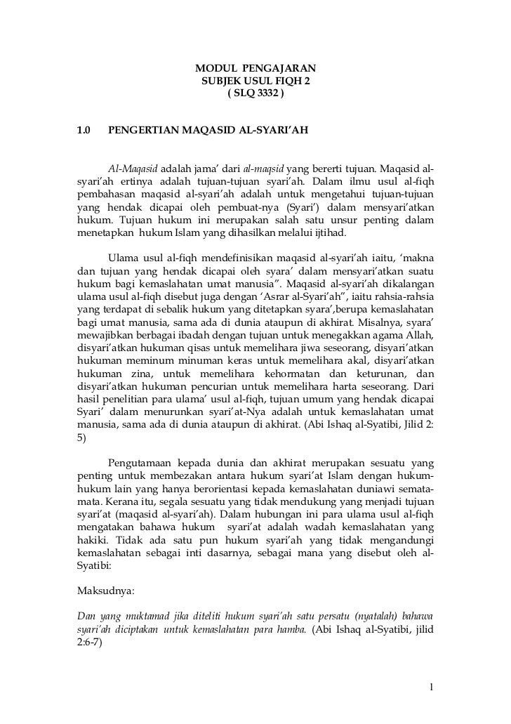 MODUL PENGAJARAN                           SUBJEK USUL FIQH 2                               ( SLQ 3332 )1.0   PENGERTIAN M...