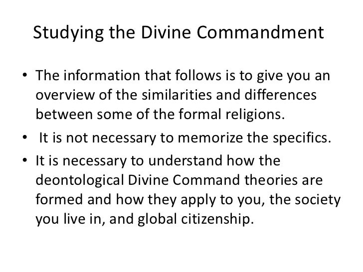 euthanasia and divine command theory Divine command theory (also known as theological voluntarism) is a meta-ethical theory which proposes that an action's status as morally good is equivalent to.