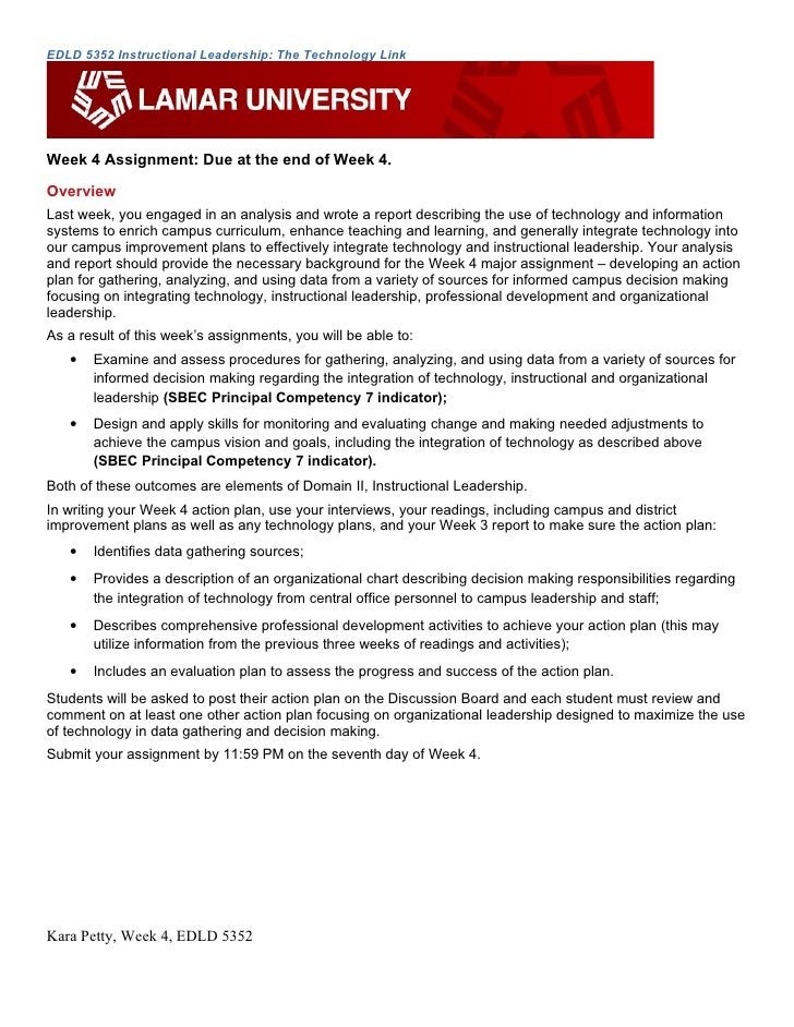 EDLD 5352 Instructional Leadership: The Technology Link     Week 4 Assignment: Due at the end of Week 4. Overview Last wee...
