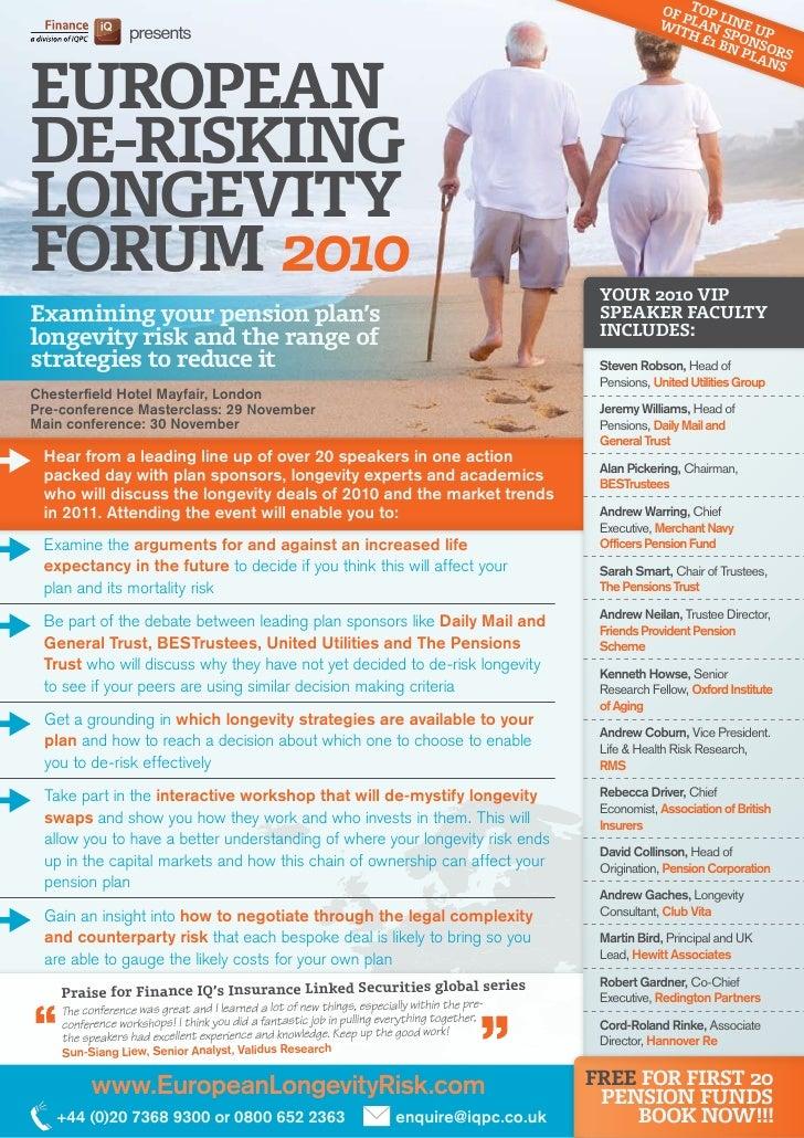 European De-risking Longevity Forum 2010