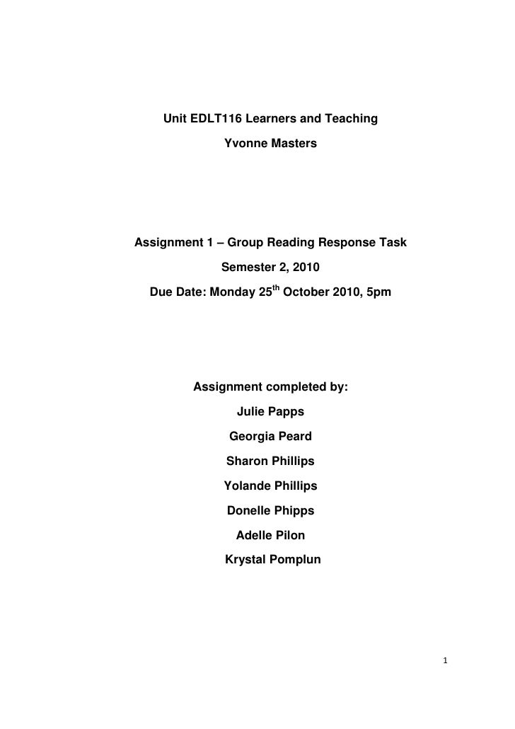 Unit EDLT116 Learners and Teaching             Yvonne MastersAssignment 1 – Group Reading Response Task             Semest...