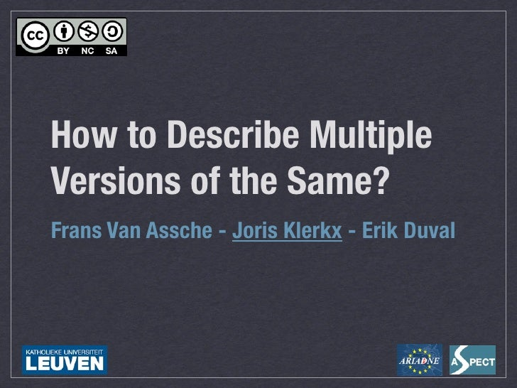 Edmedia 2010: How to describe multiple versions of the same