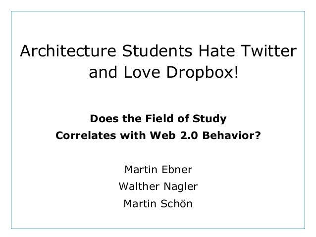 Dept. Social LearningTU Graz June - 2013Architecture Students Hate Twitterand Love Dropbox!Does the Field of StudyCorrelat...