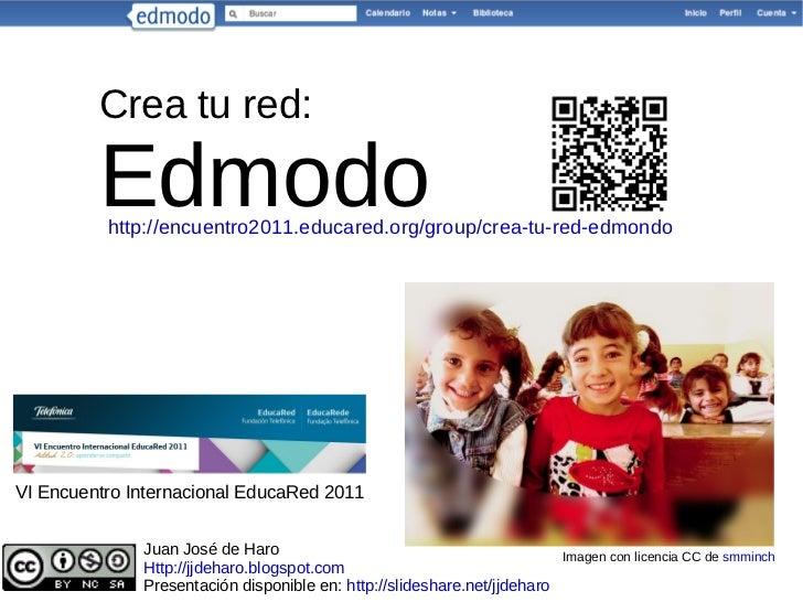 Crea tu red: Edmodo Imagen con licencia CC de  smminch Juan José de Haro Http://jjdeharo.blogspot.com Presentación disponi...