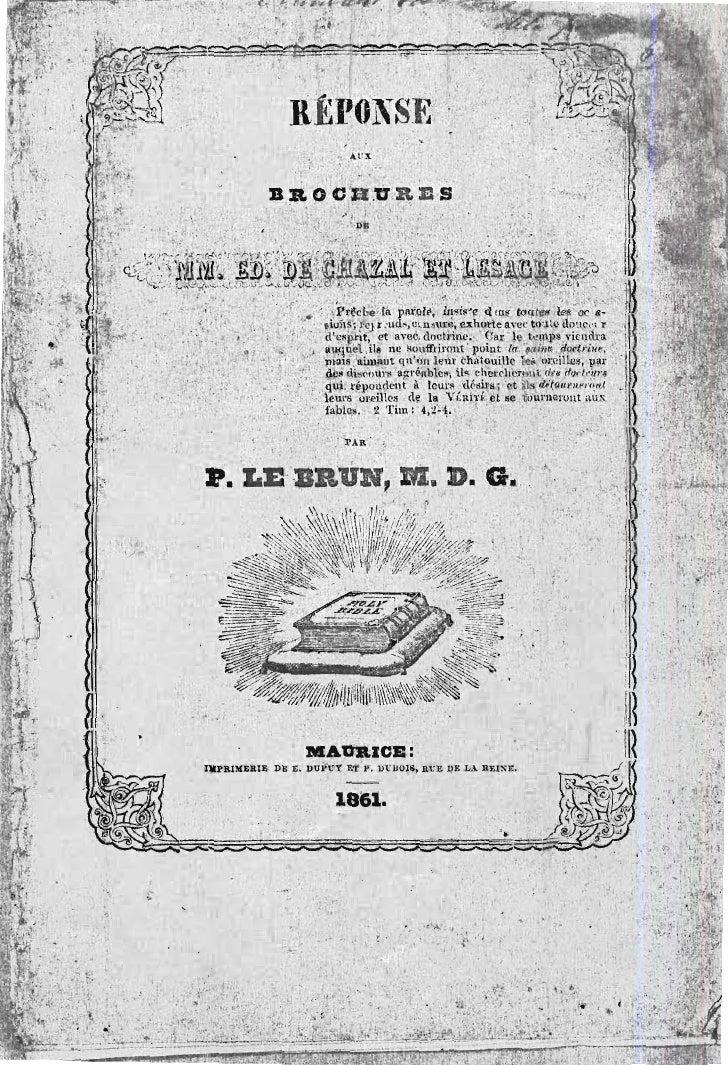 Edmond de-chazal-4sur4-pamphlets-théologiques-rev-pierre-le brun-pasteur-protestant-maurice-1861