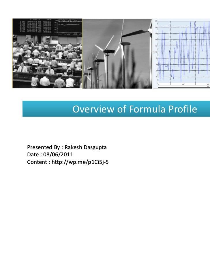 EDM Overview of Formula Profile