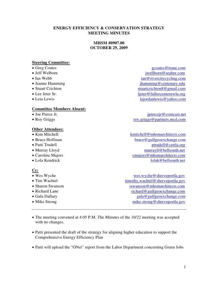 EECS Meeting Minutes 10.29.09