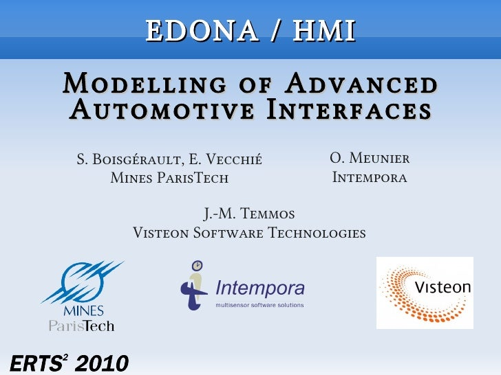 EDONA / HMI Modelling of Advanced Automotive Interfaces S. Boisgérault, E. Vecchié     O. Meunier      Mines ParisTech    ...