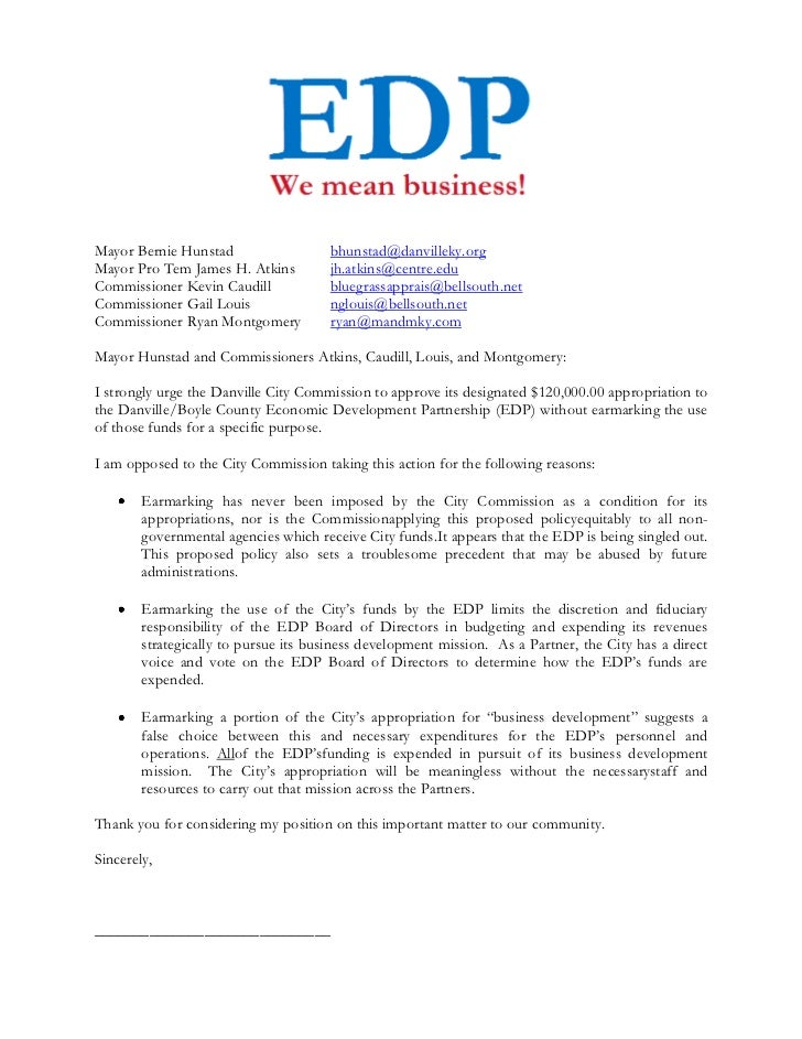 Letter to Danville City Commission - NO to Earmarking EDP Funds