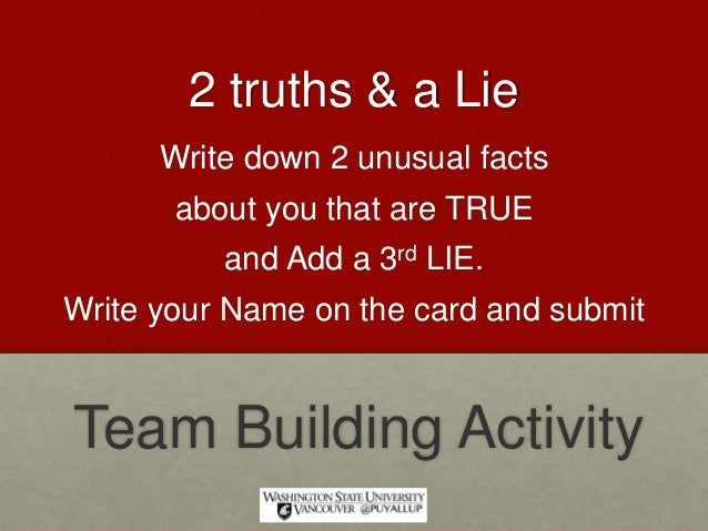 Truths And A Lie Team Building