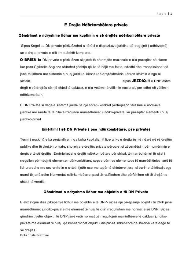 Page |1                              E Drejta Ndërkombëtare privateQëndrimet e ndryshme lidhur me kuptimin e së drejtës nd...