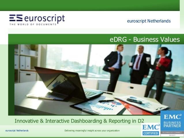 euroscript Netherlands eDRG – slide 1 euroscript Netherlands Delivering meaningful insight across your organizationeuroscr...