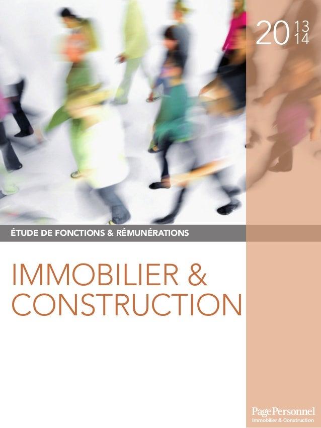 2013 14 ÉTUDE DE FONCTIONS & RÉMUNÉRATIONS IMMOBILIER & CONSTRUCTION Immobilier & Construction