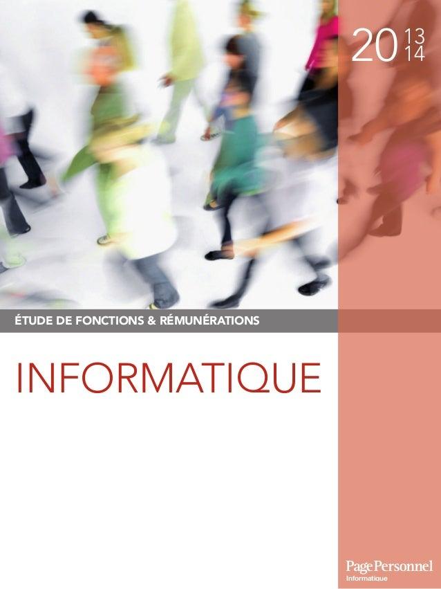 2013 14 ÉTUDE DE FONCTIONS & RÉMUNÉRATIONS INFORMATIQUE Informatique