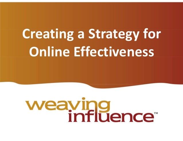 Creating a Strategy for Online Effectiveness