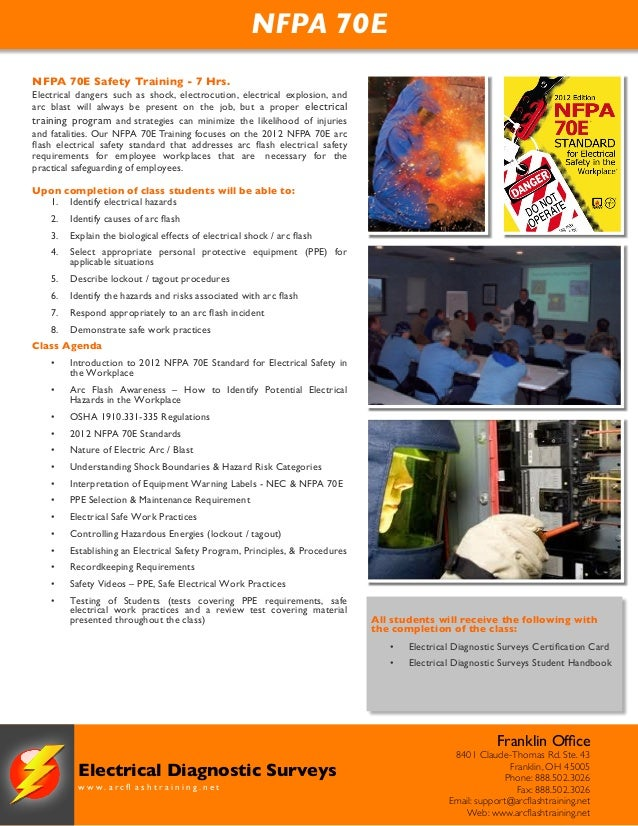 NFPA 70E Safety Training - 7 Hrs.Electrical dangers such as shock, electrocution, electrical explosion, andarc blast will ...