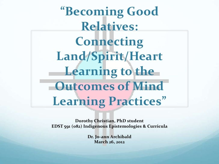"""Becoming Good      Relatives:     Connecting Land/Spirit/Heart   Learning to theOutcomes of MindLearning Practices""      ..."