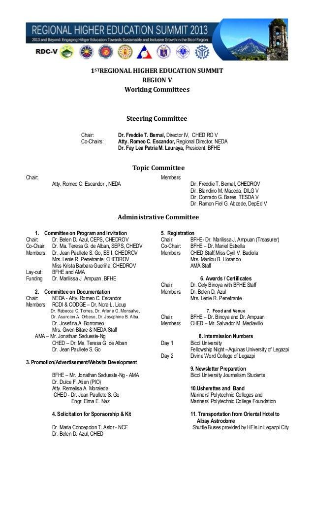 Regional Higher Education Summit 2013 Committees (Revised)